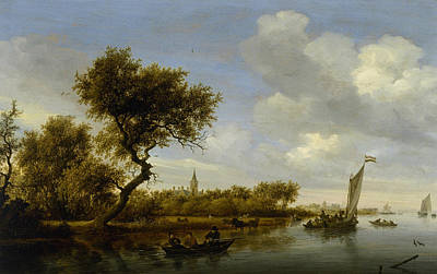 Painting - River Landscape With A Church In The Distance by Salomon van Ruysdael
