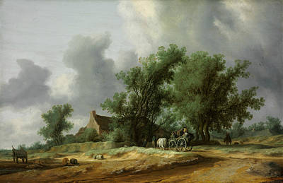 Painting - Road In The Dunes With A Passanger Coach by Salomon van Ruysdael