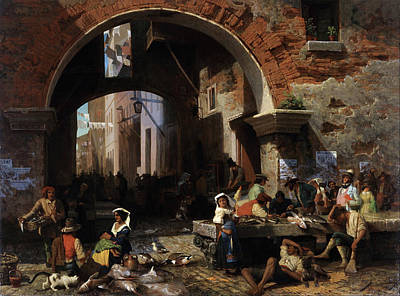 Painting - Roman Fish Market. Arch Of Octavius by Albert Bierstadt