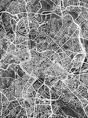 Digital Art - Rome Italy City Map by Michael Tompsett