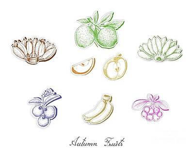 New Years Royalty Free Images - Set of Autumn Fruits with Paper Cut Art Royalty-Free Image by Iam Nee