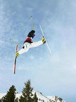 Ski Photograph - Skier Doing Freestyle Jump In Air by Mike Powell
