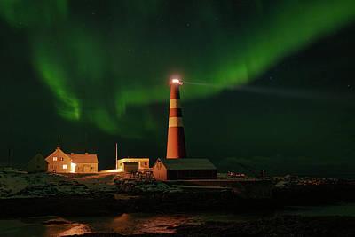 Photograph - Slettnes Lighthouse Under Aurora 2 by Arctic FineArt