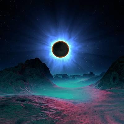 Digital Art - Solar Eclipse In Alien Planetary System by Mehau Kulyk