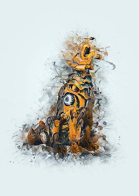 Recently Sold - Animals Digital Art - Steampunk Wolf by Ian Mitchell