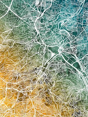 Digital Art - Stuttgart Germany City Map by Michael Tompsett