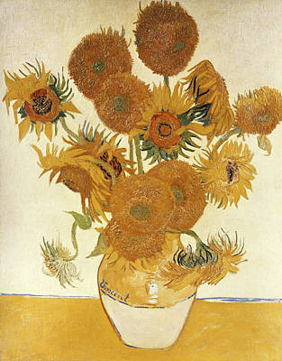Close Up Painting - Sunflowers By Vincent Van Gogh, Oil On by Superstock