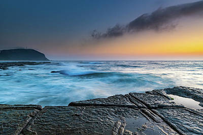 Photograph - Sunrise Seascape And Tesselated Rock Ledge by Merrillie Redden