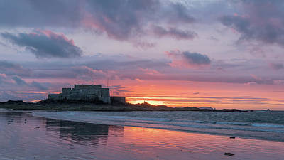 Urban Abstracts - Sunset on the beach and Fort National during low tide in Saint Malo by Stefan Rotter