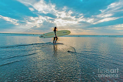 Photograph - Sunset Surfing  by Roman Gomez