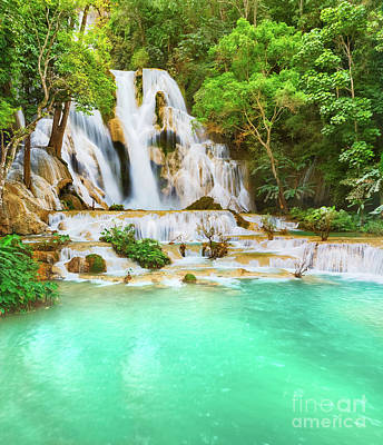 Royalty-Free and Rights-Managed Images - Tat Kuang Si Waterfalls. Beautiful landscape. Laos. by MotHaiBaPhoto Prints