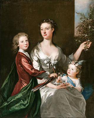 Painting - The Artist's Wife Susanna, Son Anthony And Daughter Susanna by Joseph Highmore