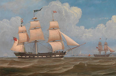 Painting - The English Merchant Ship Malabar by William Clark