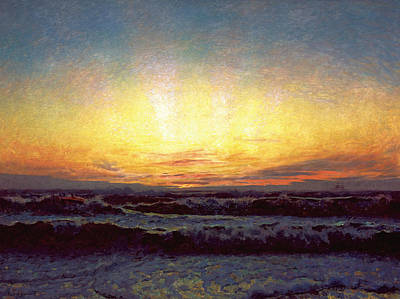 Painting - The North Sea In Stormy Weather. After Sunset. Hojen by Laurits Tuxen