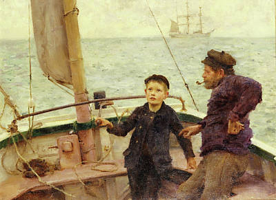 Painting - The Steering Lesson by Henry Scott Tuke
