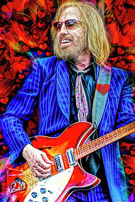 Music Mixed Media - Tom Petty and the Heartbreakers by Mal Bray