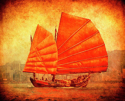 Chinese Junk Wall Art - Photograph - Traditional Junk Boat In Hong Kong by Harald Sund