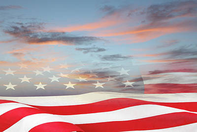 Photograph - Usa Flag In Sky by Les Cunliffe