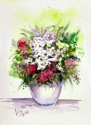 Painting - Vase Of Flowers by Asha Sudhaker Shenoy