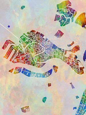 Digital Art - Venice Italy City Map by Michael Tompsett