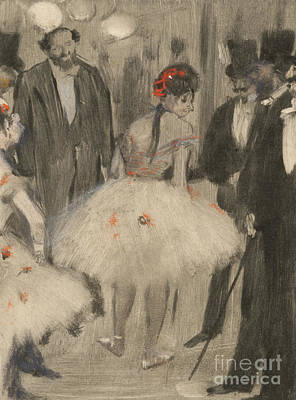Pastel - Virginie Being Admired While The Marquis Cavalcanti Looks On by Edgar Degas