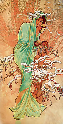 Photograph - Winter by Alphonse Maria Mucha