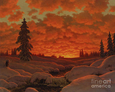 Painting - Winter Landscape  by Ivan Fedorovich Choultse
