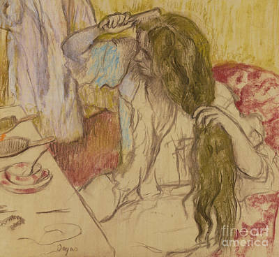 Pastel - Woman At Her Toilette by Edgar Degas