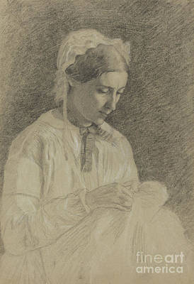 Drawing - Woman Embroidering by Edgar Degas
