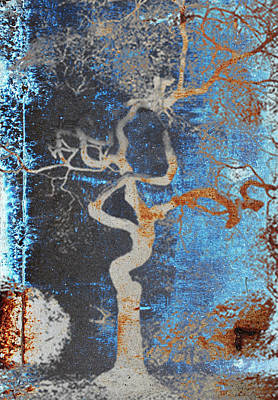 Painting - 2000 Year Old Tokyo Tree In Grunge Blue And Brown by Robert R Splashy Art Abstract Paintings