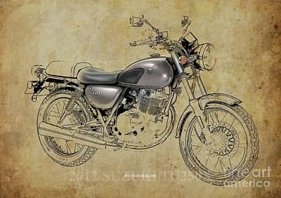 Digital Art - 2012 Suzuki TU250X Blueprint, Vintage Blueprint by Drawspots Illustrations