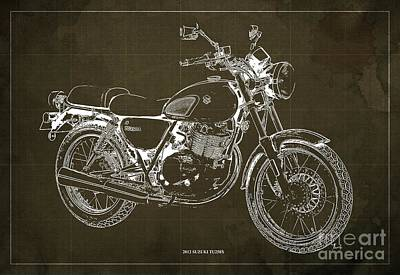 Digital Art - 2012 Suzuki TU250X Blueprint, Vintage Brown Background by Drawspots Illustrations