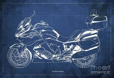 Digital Art - 2017 BMW K1600GTL Blueprint, Vintage Blue Background by Drawspots Illustrations