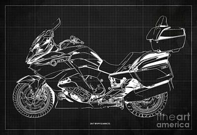 Digital Art - 2017 BMW K1600GTL Blueprint, Vintage Dark Grey Background by Drawspots Illustrations