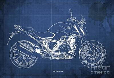 Digital Art - 2017 BMW R1200R Blueprint, Vintage Blue Background by Drawspots Illustrations