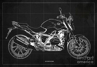 Digital Art - 2017 BMW R1200R Blueprint, Vintage Dark Grey Background by Drawspots Illustrations