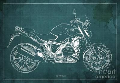 Digital Art - 2017 BMW R1200R Blueprint, Vintage Green Background by Drawspots Illustrations