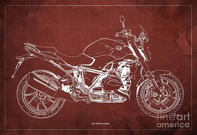 Digital Art - 2017 BMW R1200R Blueprint, Vintage Red Background by Drawspots Illustrations