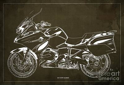 Digital Art - 2017 BMW R1200RT Blueprint, Vintage Brown Background by Drawspots Illustrations