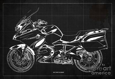 Digital Art - 2017 BMW R1200RT Blueprint, Vintage Dark Grey Background by Drawspots Illustrations