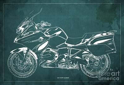 Digital Art - 2017 BMW R1200RT Blueprint, Vintage Verde Background by Drawspots Illustrations