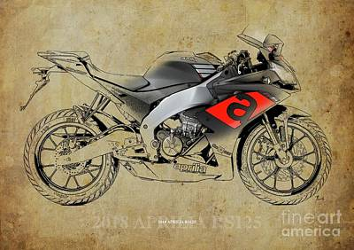 Digital Art - 2018 Aprilia RS125 Blueprint, Vintage Background by Drawspots Illustrations