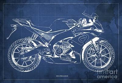 Digital Art - 2018 Aprilia RS125 Blueprint, Vintage Blue Background by Drawspots Illustrations