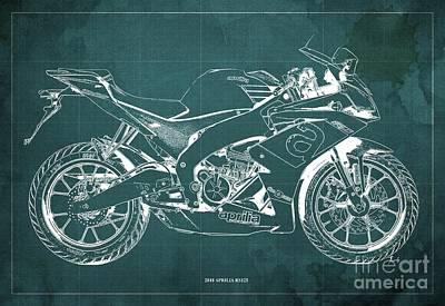 Digital Art - 2018 Aprilia RS125 Blueprint, Vintage Green Background by Drawspots Illustrations
