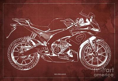 Digital Art - 2018 Aprilia RS125 Blueprint, Vintage Red Background by Drawspots Illustrations