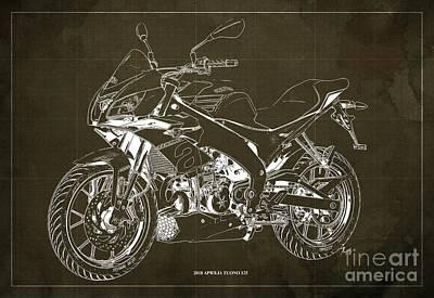 Digital Art - 2018 Aprilia Tuono 125 Blueprint, Vintage Brown Background by Drawspots Illustrations