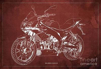 Digital Art - 2018 Aprilia Tuono 125 Blueprint, Vintage Red Background by Drawspots Illustrations
