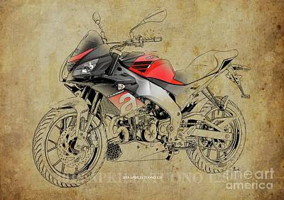 Digital Art - 2018 Aprilia Tuono 125 Vintage Poster, Mid Century Old Brown Background. Black line and color by Drawspots Illustrations