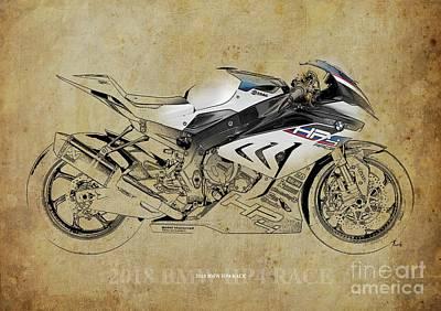 Digital Art - 2018 BMW HP4 Race Blueprint, Vintage Background by Drawspots Illustrations