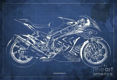 Digital Art - 2018 BMW HP4 Race Blueprint, Vintage Blue Background by Drawspots Illustrations